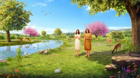 God maakt kleren van dierenvellen voor Adam en Eva