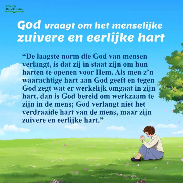 God vraagt om het menselijke zuivere en eerlijke hart