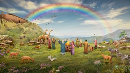 God maakt de regenboog als een symbool van Zijn verbond met de mens