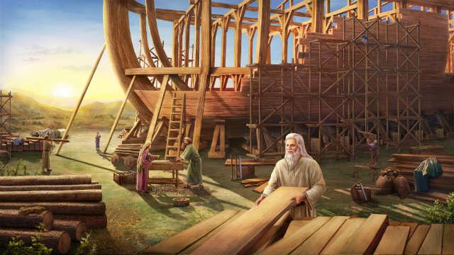 God is van plan de wereld door een vloed te vernietigen en draagt Noach op een ark te bouwen