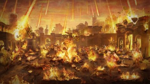 Sodom wordt vernietigd omdat het Gods toorn over zich heeft afgeroepen
